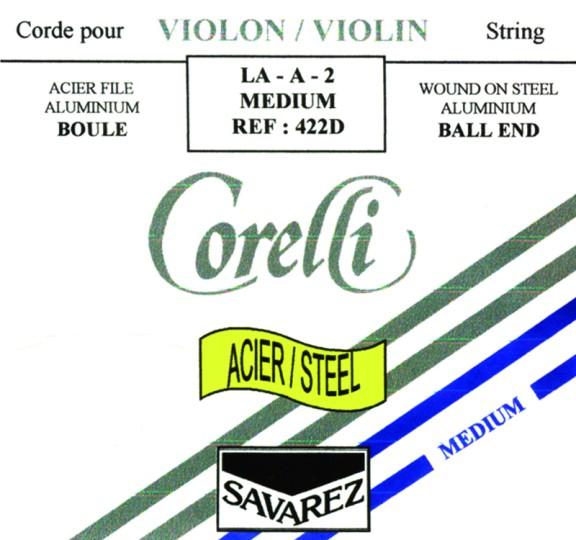 CORELLI acier/steel - vioolsnaren -  D darm - sterkte 17