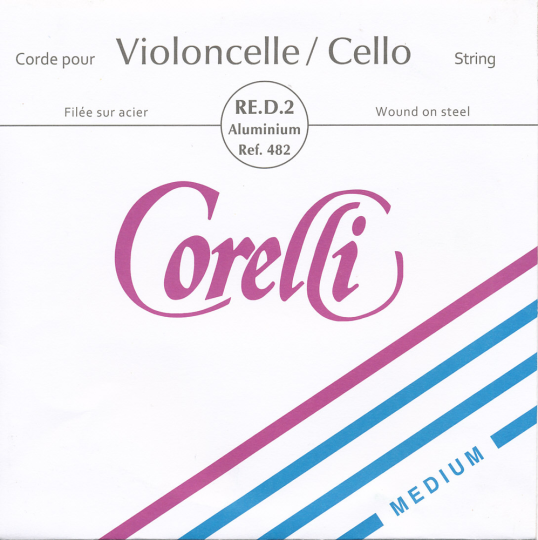 CORELLI Acier/Steel D- snaar voor cello, zilver, medium