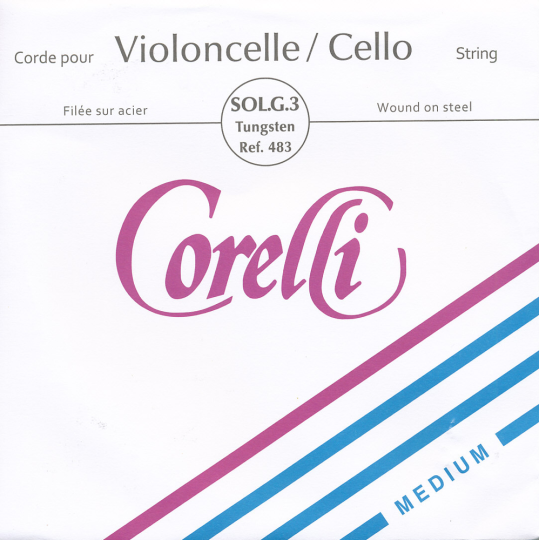 CORELLI Acier/Steel G- snaar voor cello, zilver/wolfraam, medium