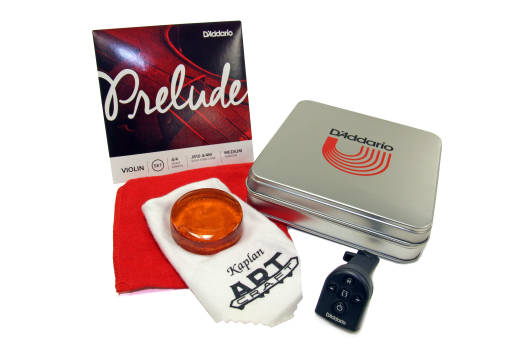 D´ Addario Preulde Set 4/4 in Metalen cassette, vioolhars en tuner