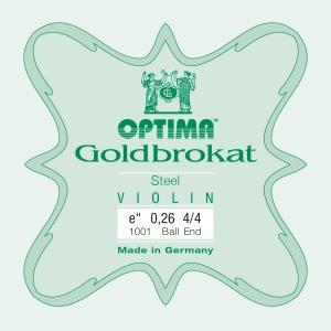 LENZNER-Optima Goldbrokat Violin E-snaar met lusje, sterkte: 28