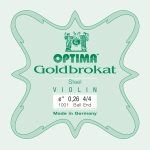 LENZNER-Optima Goldbrokat Violin E-snaar met kogeltje, sterkte: 25