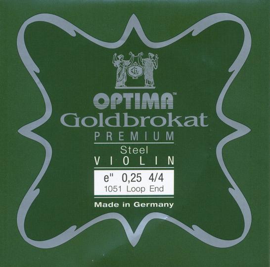 Optima Goldbrokat Premium Violin E-Snaar lusje, sterkte 25