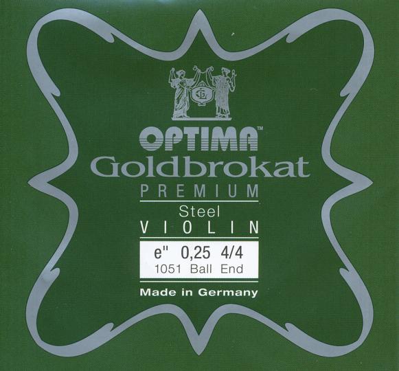 Optima Goldbrokat Premium Violin E-Snaar kogel, sterkte 25