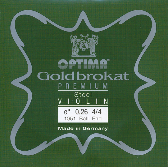 Optima Goldbrokat Premium Violin E-Snaar kogel, sterkte 26