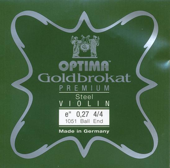 Optima Goldbrokat Premium Violin E-Snaar kogel, sterkte 27