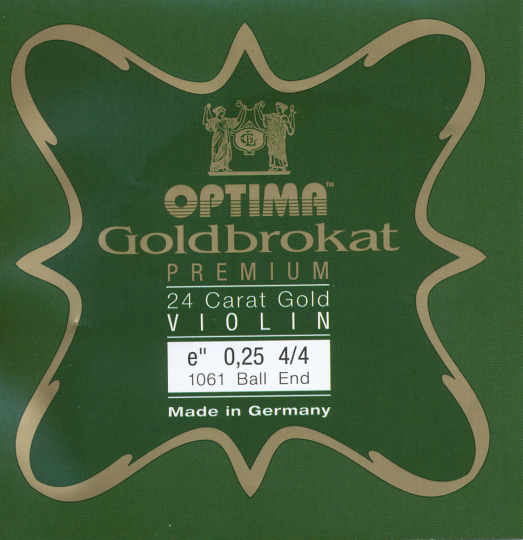 Optima Goldbrokat 24 K Gold Premium Violin E-Snaar kogel, sterkte 25
