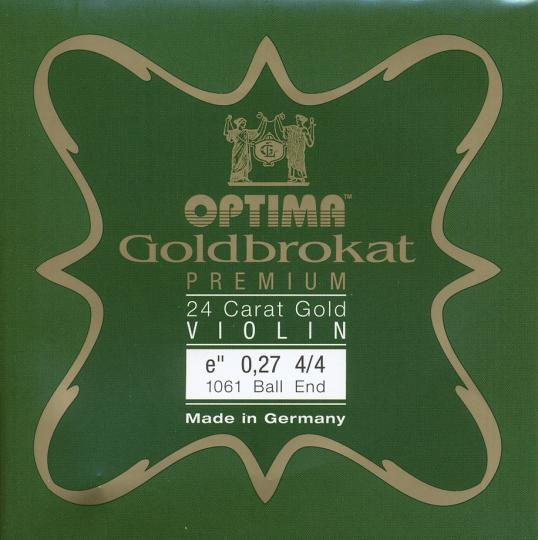 Optima Goldbrokat 24 K Gold Premium Violin E-Snaar kogel, sterkte 27