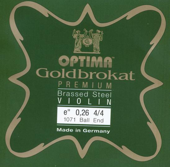 Optima Goldbrokat Premium Brassed Violin E-Snaar kogel, sterkte 26