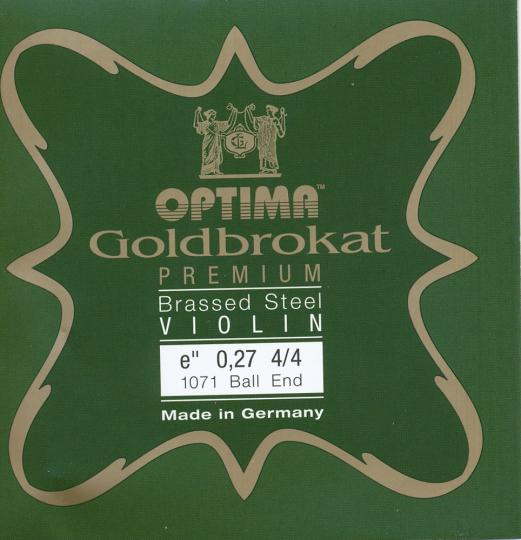 Optima Goldbrokat Premium Brassed Violin E-Snaar kogel, sterkte 27