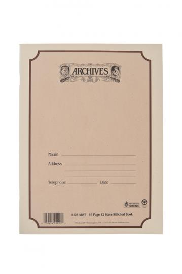 Muziekpapierboek - 12 notenbalken - 48 pag. - gebonden rug