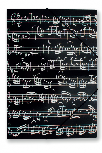 Elastomap muzieknoten, zwart