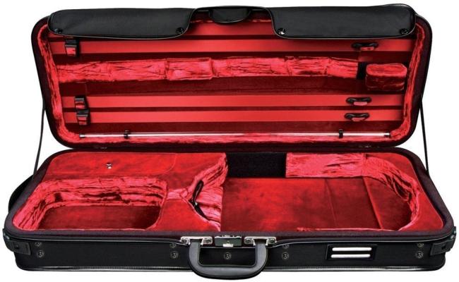 GEWA Strato de Luxe, altvioolkoffer, zwart/fluweelpuche rood