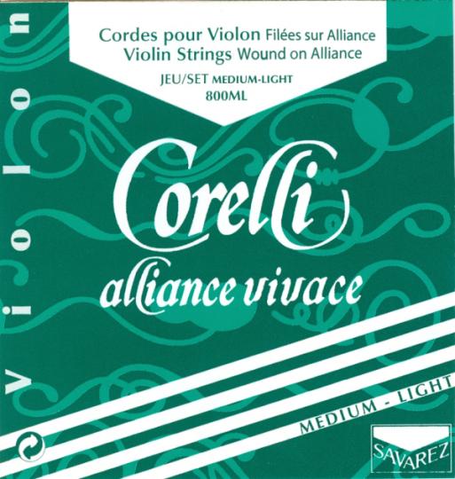 CORELLI Alliance - Set vioolsnaren - E lusje - 4/4 med. light