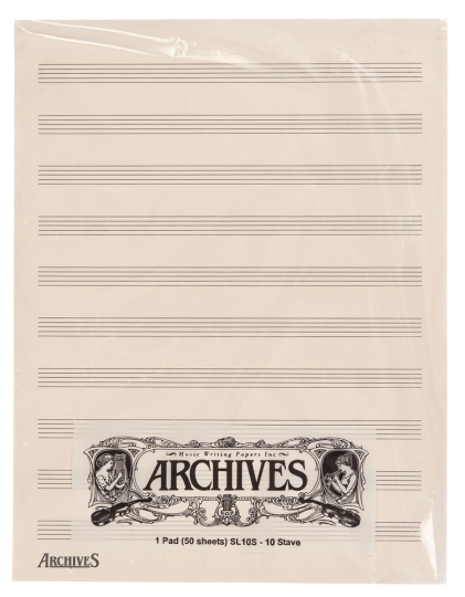 Muziekpapier-Blok - 10 notenbalken - 50 pag.